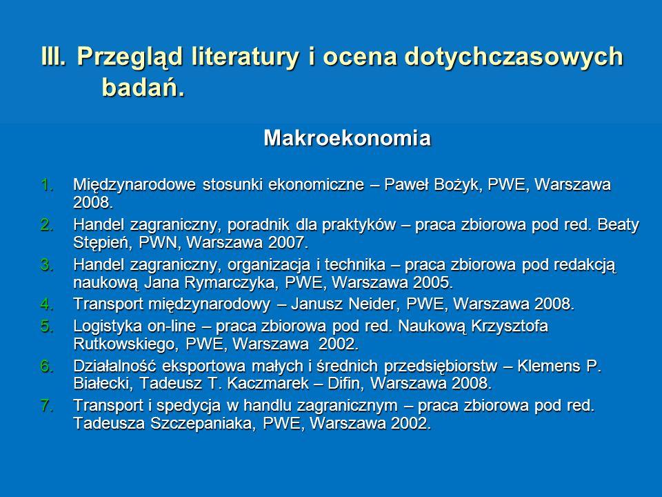 III. Przegląd literatury i ocena dotychczasowych badań. Makroekonomia 1.Międzynarodowe stosunki ekonomiczne – Paweł Bożyk, PWE, Warszawa 2008. 2.Hande