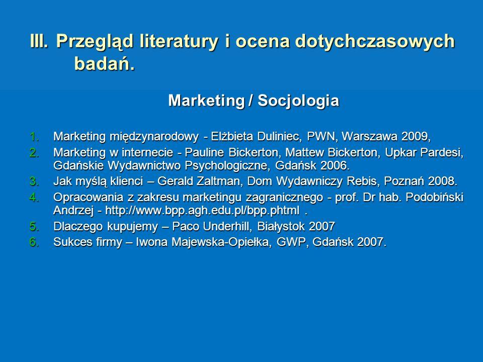 III. Przegląd literatury i ocena dotychczasowych badań. Marketing / Socjologia 1.Marketing międzynarodowy - Elżbieta Duliniec, PWN, Warszawa 2009, 2.M