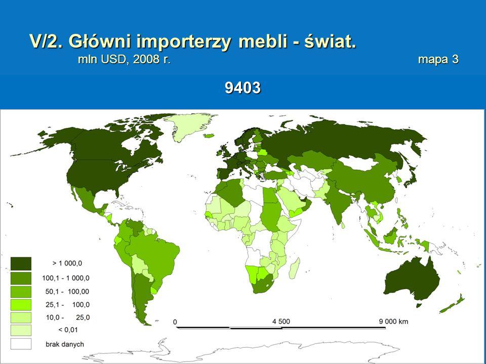 V/2. Główni importerzy mebli - świat. mln USD, 2008 r.mapa 3 9403