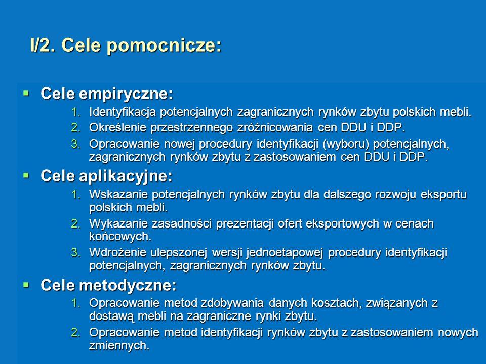 I/2. Cele pomocnicze: Cele empiryczne: Cele empiryczne: 1.Identyfikacja potencjalnych zagranicznych rynków zbytu polskich mebli. 2.Określenie przestrz