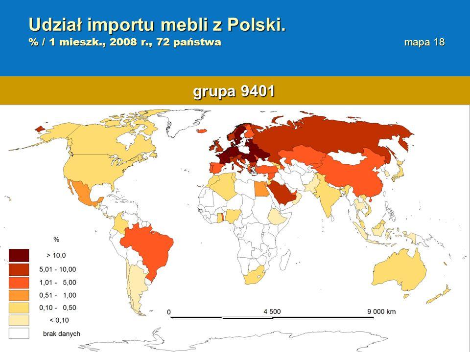 Udział importu mebli z Polski. % / 1 mieszk., 2008 r., 72 państwa mapa 18 grupa 9401