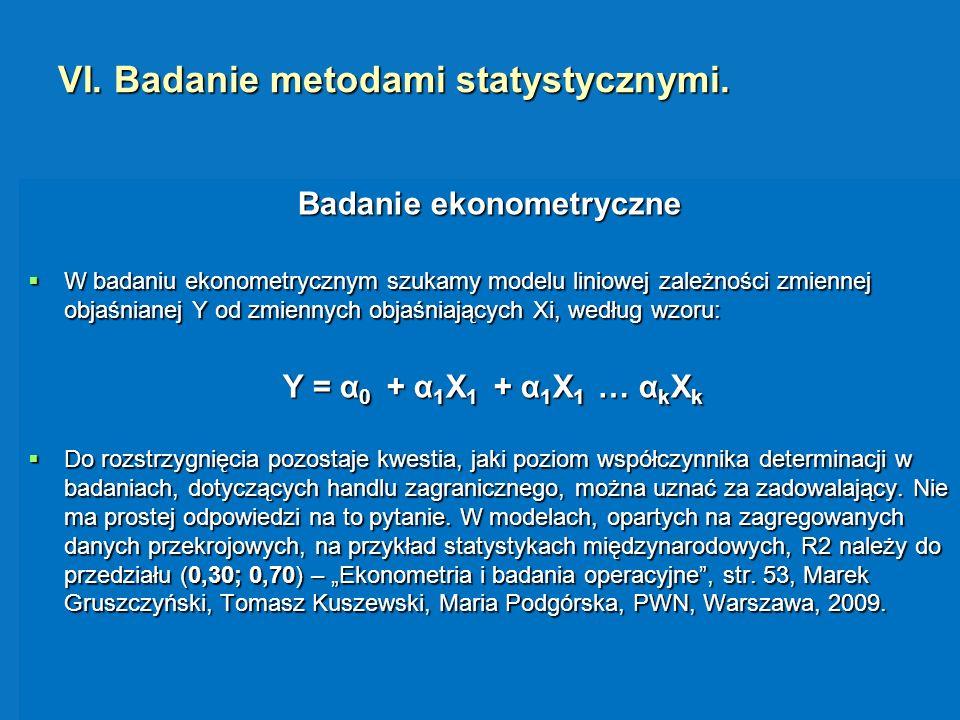 VI. Badanie metodami statystycznymi. Badanie ekonometryczne W badaniu ekonometrycznym szukamy modelu liniowej zależności zmiennej objaśnianej Y od zmi