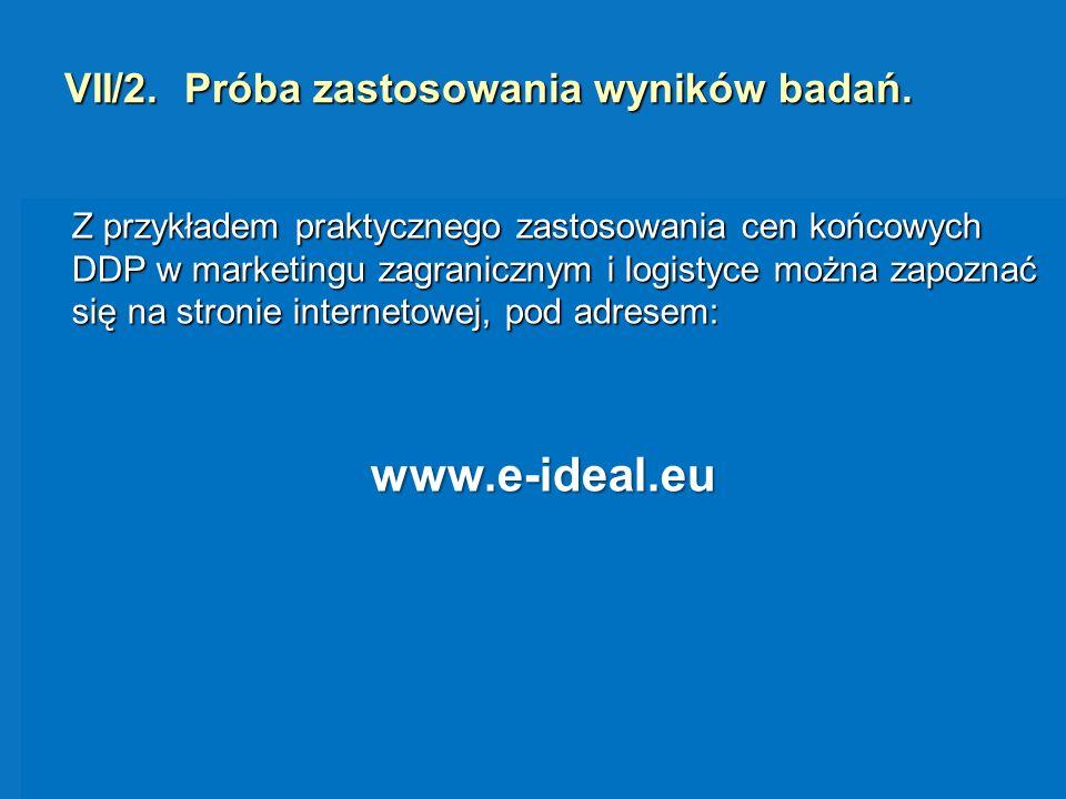 VII/2. Próba zastosowania wyników badań. Z przykładem praktycznego zastosowania cen końcowych DDP w marketingu zagranicznym i logistyce można zapoznać