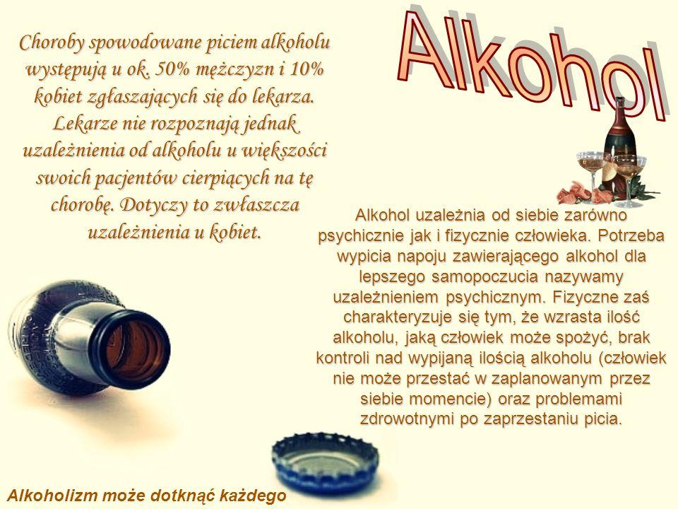 Choroby spowodowane piciem alkoholu występują u ok. 50% mężczyzn i 10% kobiet zgłaszających się do lekarza. Lekarze nie rozpoznają jednak uzależnienia