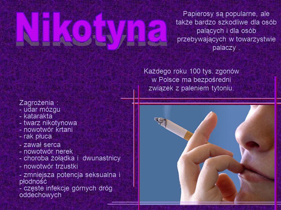 Zagrożenia : - udar mózgu - katarakta - twarz nikotynowa - nowotwór krtani - rak płuca - zawał serca - nowotwór nerek - choroba żołądka i dwunastnicy