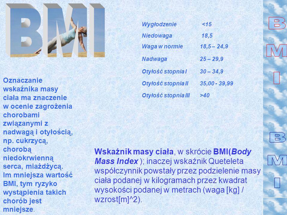 Wskaźnik masy ciała, w skrócie BMI(Body Mass Index ); inaczej wskaźnik Queteleta współczynnik powstały przez podzielenie masy ciała podanej w kilogram