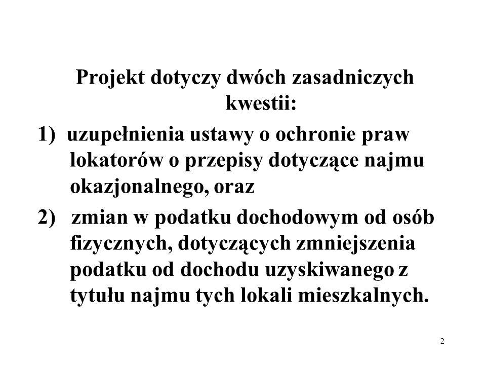 2 Projekt dotyczy dwóch zasadniczych kwestii: 1) uzupełnienia ustawy o ochronie praw lokatorów o przepisy dotyczące najmu okazjonalnego, oraz 2) zmian