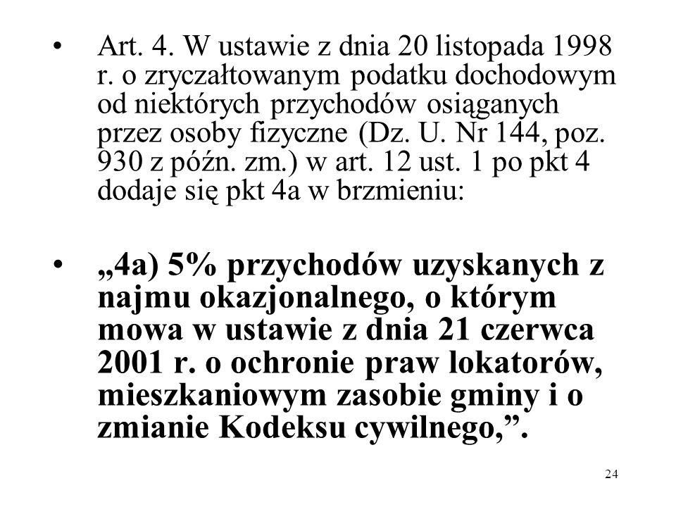 24 Art. 4. W ustawie z dnia 20 listopada 1998 r. o zryczałtowanym podatku dochodowym od niektórych przychodów osiąganych przez osoby fizyczne (Dz. U.