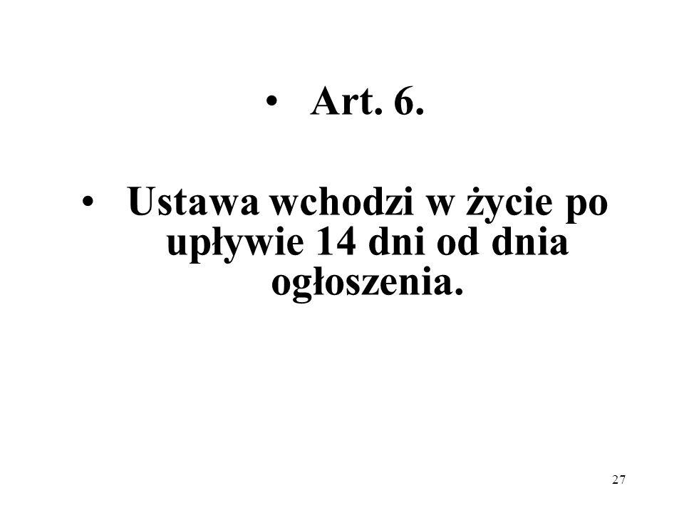 27 Art. 6. Ustawa wchodzi w życie po upływie 14 dni od dnia ogłoszenia.