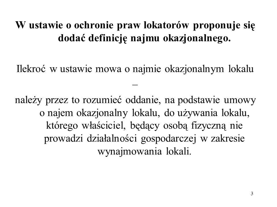 3 W ustawie o ochronie praw lokatorów proponuje się dodać definicję najmu okazjonalnego. Ilekroć w ustawie mowa o najmie okazjonalnym lokalu – należy