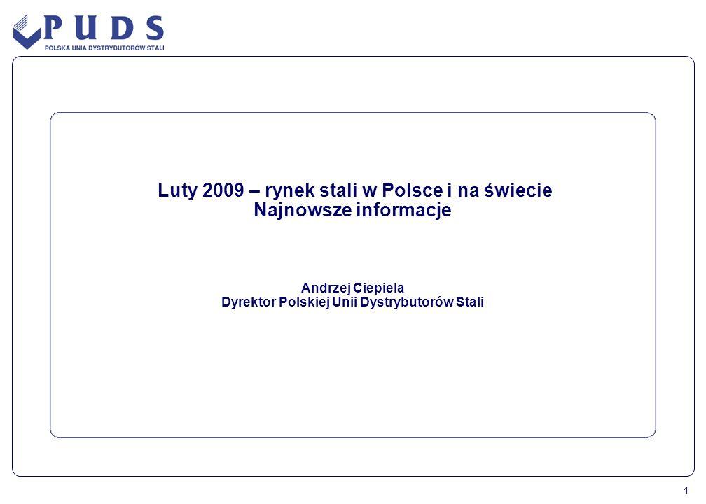 1 Luty 2009 – rynek stali w Polsce i na świecie Najnowsze informacje Andrzej Ciepiela Dyrektor Polskiej Unii Dystrybutorów Stali