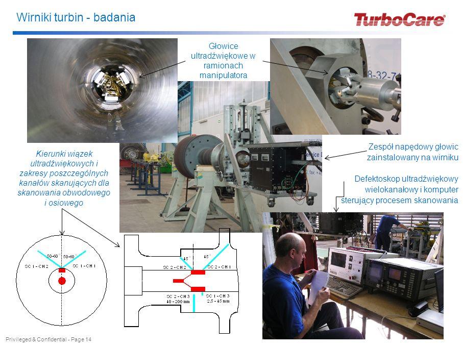 Wirniki turbin - badania Zespół napędowy głowic zainstalowany na wirniku Defektoskop ultradźwiękowy wielokanałowy i komputer sterujący procesem skanow