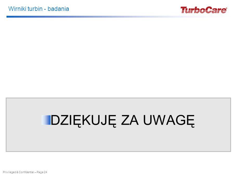 Wirniki turbin - badania Privileged & Confidential – Page 24 DZIĘKUJĘ ZA UWAGĘ