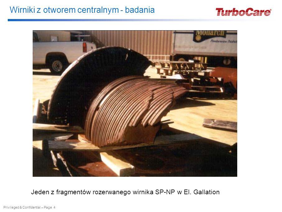 Wirniki turbin - badania Privileged & Confidential – Page 19 Badania wirników z otworem centralnym – przykład różnych możliwości naprawy wału wirnika, jeżeli zarejestrowane zostały wady w materiale wału