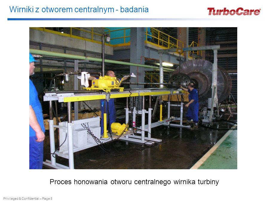 Wirniki z otworem centralnym - badania Privileged & Confidential – Page 8 Proces honowania otworu centralnego wirnika turbiny