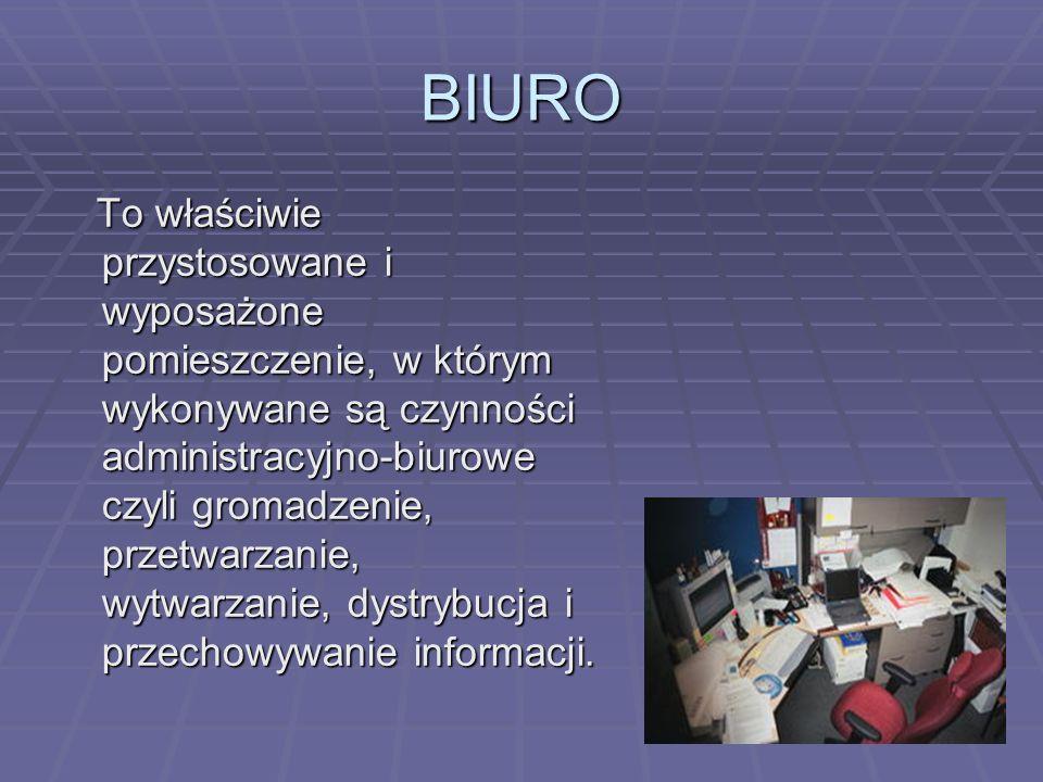 BIURO To właściwie przystosowane i wyposażone pomieszczenie, w którym wykonywane są czynności administracyjno-biurowe czyli gromadzenie, przetwarzanie