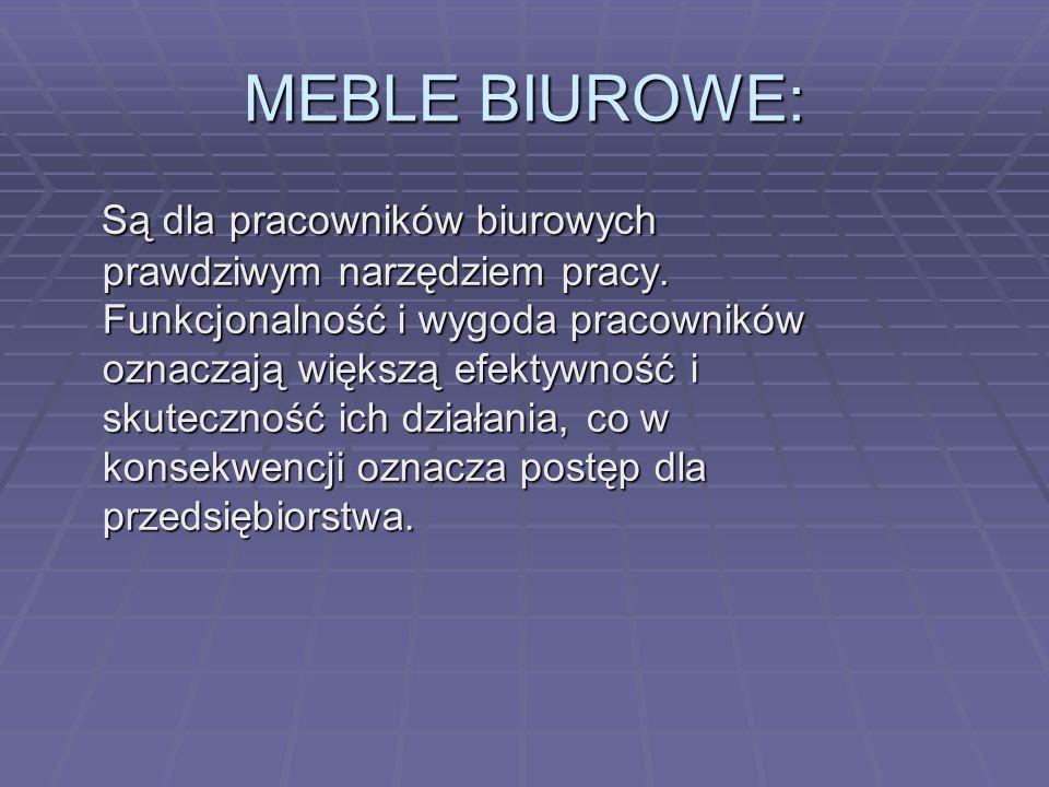 MEBLE BIUROWE: Są dla pracowników biurowych prawdziwym narzędziem pracy. Funkcjonalność i wygoda pracowników oznaczają większą efektywność i skuteczno