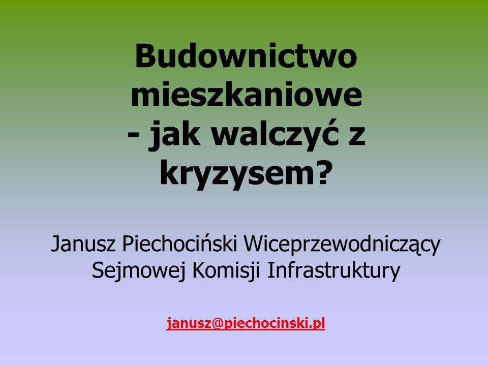 Budownictwo mieszkaniowe - jak walczyć z kryzysem? Janusz Piechociński Wiceprzewodniczący Sejmowej Komisji Infrastruktury janusz@piechocinski.pl
