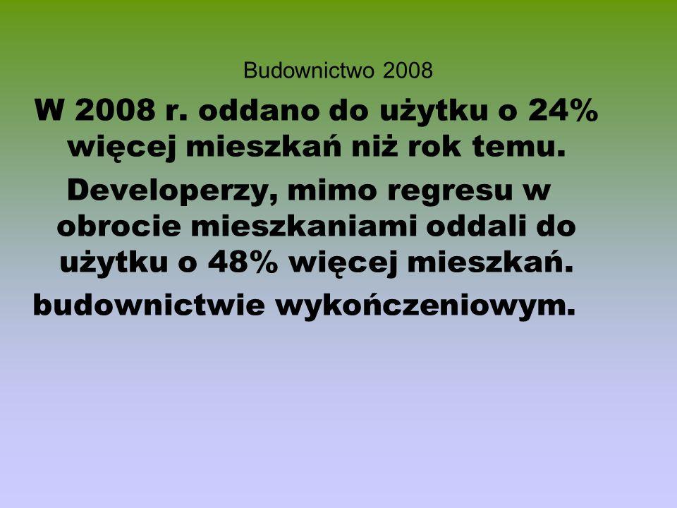 Budownictwo 2008 W 2008 r. oddano do użytku o 24% więcej mieszkań niż rok temu. Developerzy, mimo regresu w obrocie mieszkaniami oddali do użytku o 48