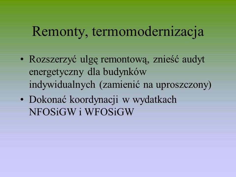 Remonty, termomodernizacja Rozszerzyć ulgę remontową, znieść audyt energetyczny dla budynków indywidualnych (zamienić na uproszczony) Dokonać koordyna