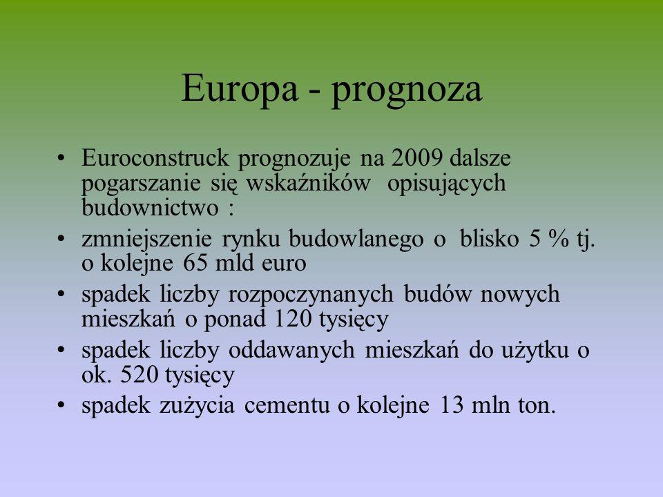Europa - prognoza Euroconstruck prognozuje na 2009 dalsze pogarszanie się wskaźników opisujących budownictwo : zmniejszenie rynku budowlanego o blisko