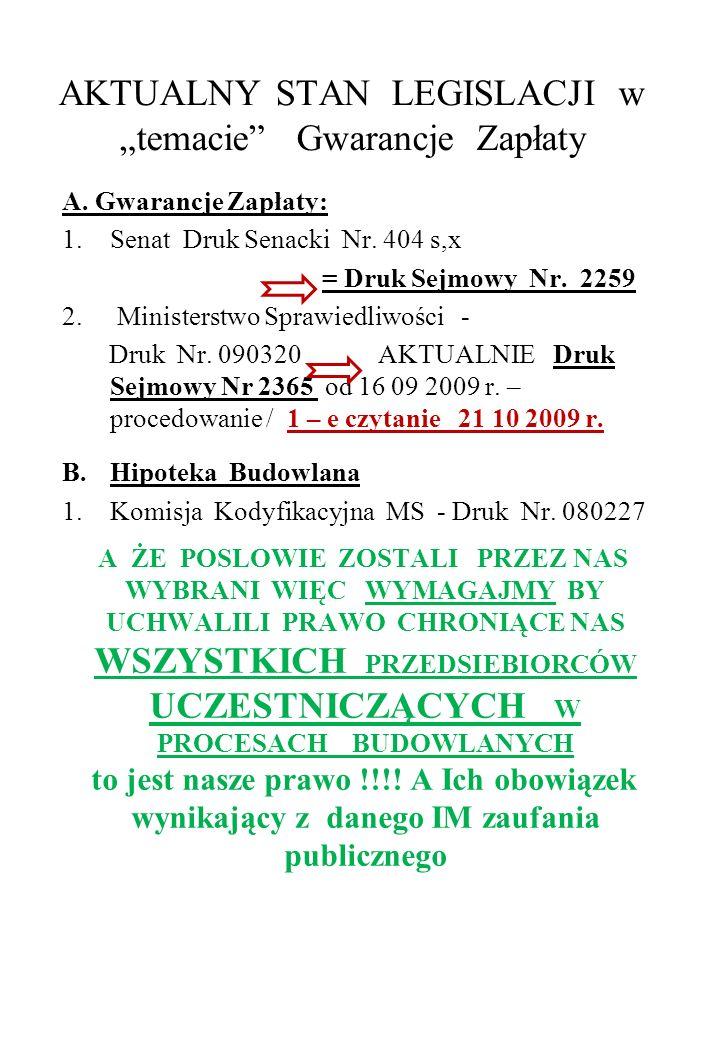 AKTUALNY STAN LEGISLACJI w temacie Gwarancje Zapłaty A. Gwarancje Zapłaty: 1.Senat Druk Senacki Nr. 404 s,x = Druk Sejmowy Nr. 2259 2. Ministerstwo Sp