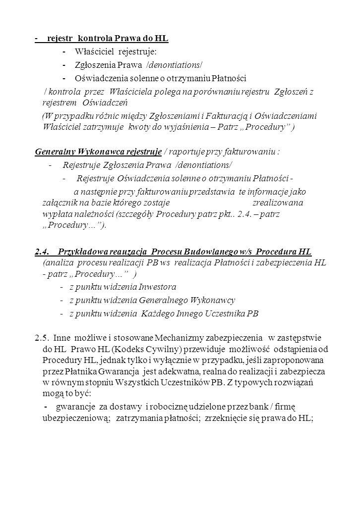 - rejestr kontrola Prawa do HL - Właściciel rejestruje: - Zgłoszenia Prawa /denontiations/ - Oświadczenia solenne o otrzymaniu Płatności / kontrola pr
