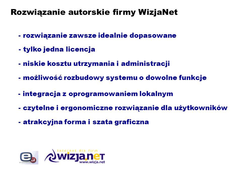 Rozwiązanie autorskie firmy WizjaNet - rozwiązanie zawsze idealnie dopasowane - tylko jedna licencja - niskie kosztu utrzymania i administracji - możl