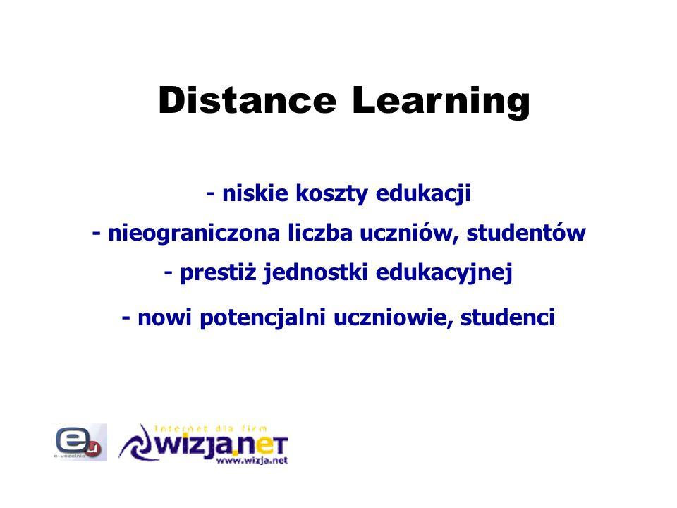 Distance Learning - niskie koszty edukacji - nieograniczona liczba uczniów, studentów - prestiż jednostki edukacyjnej - nowi potencjalni uczniowie, st
