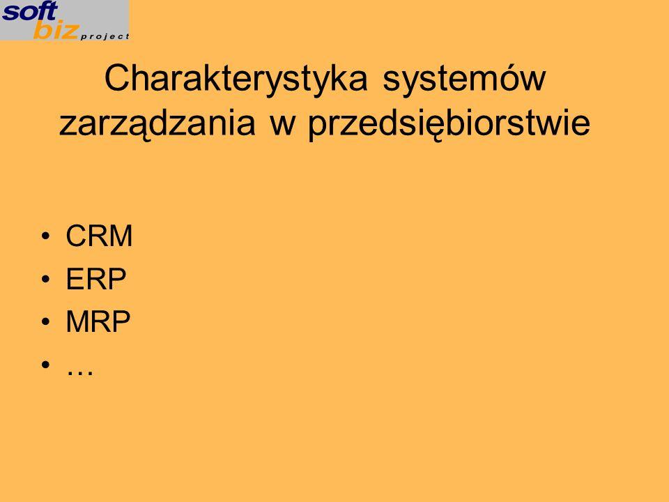Charakterystyka systemów zarządzania w przedsiębiorstwie CRM ERP MRP …