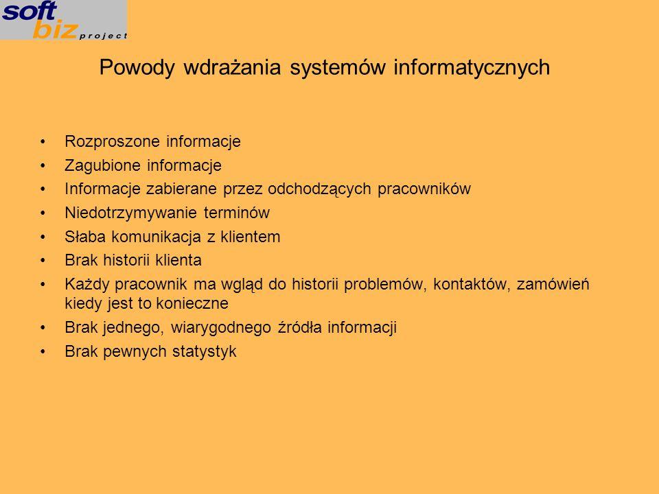 Powody wdrażania systemów informatycznych Rozproszone informacje Zagubione informacje Informacje zabierane przez odchodzących pracowników Niedotrzymyw