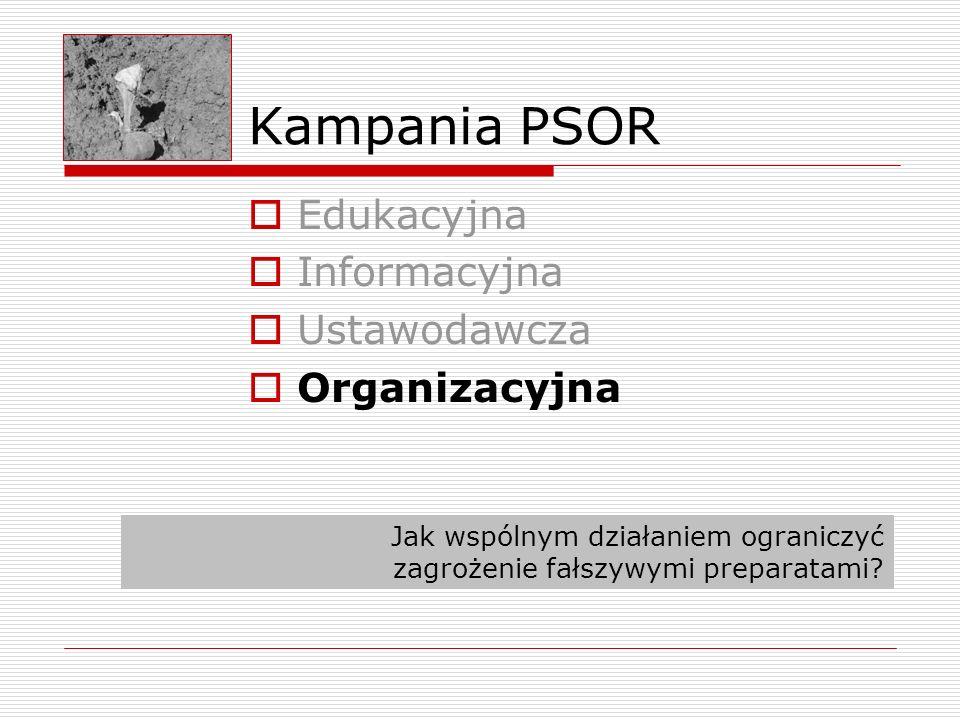 Kampania PSOR Edukacyjna Informacyjna Ustawodawcza Organizacyjna Jak wspólnym działaniem ograniczyć zagrożenie fałszywymi preparatami?
