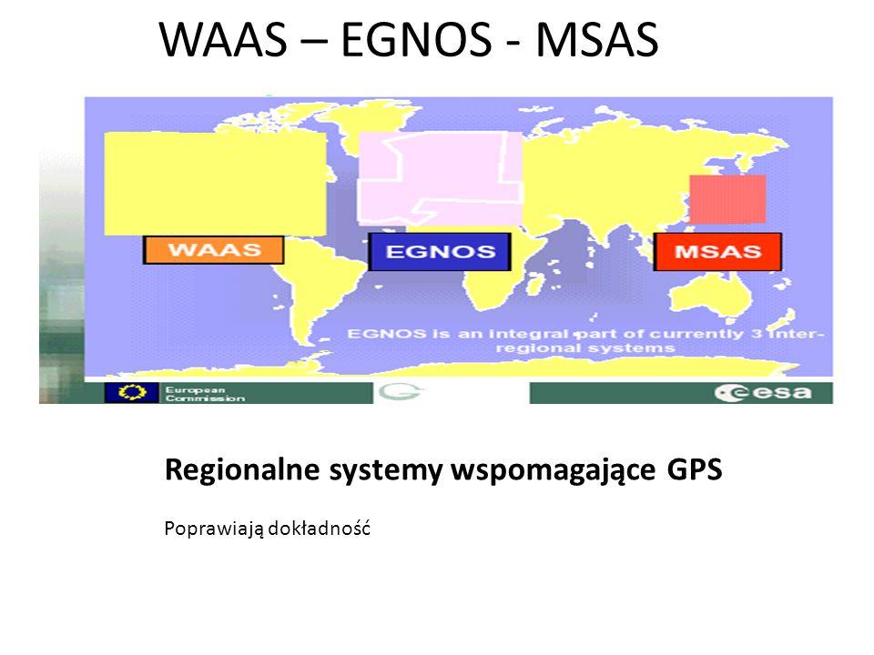 WAAS – EGNOS - MSAS Regionalne systemy wspomagające GPS Poprawiają dokładność