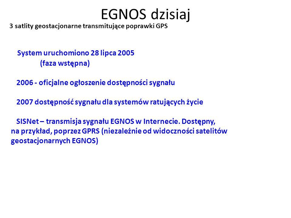 EGNOS dzisiaj System uruchomiono 28 lipca 2005 (faza wstępna) 2006 - oficjalne ogłoszenie dostępności sygnału 2007 dostępność sygnału dla systemów rat