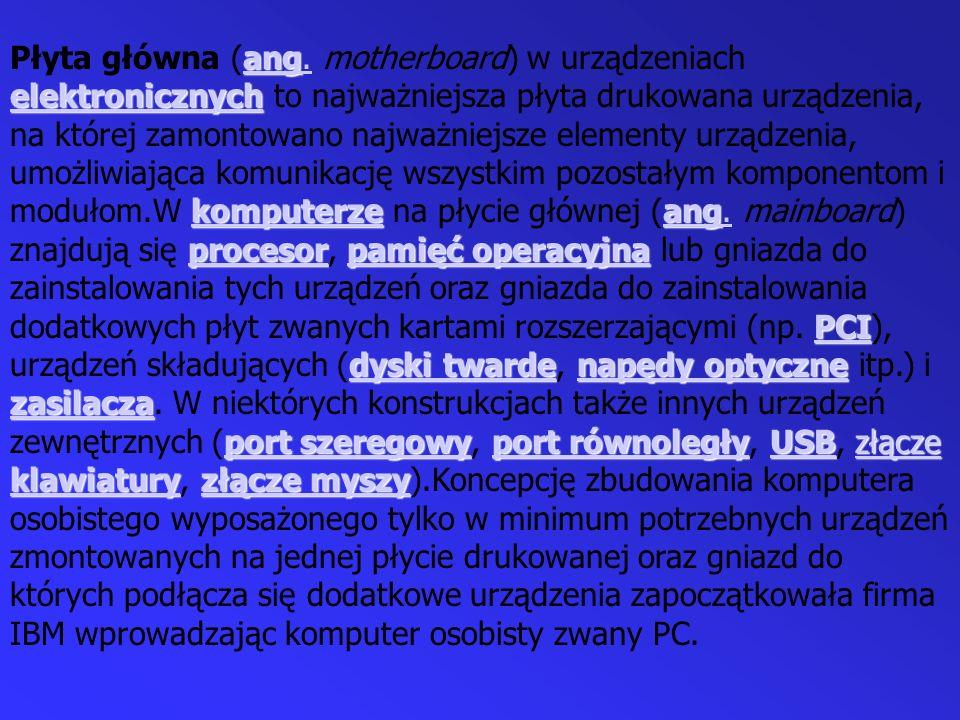 ang elektronicznych komputerzeang procesorpamięć operacyjna PCI dyski twardenapędy optyczne zasilacza port szeregowyport równoległyUSBzłącze klawiatur