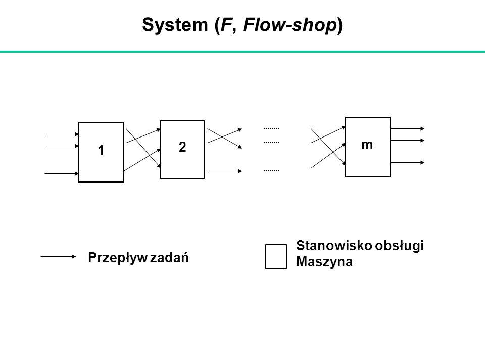 System (F, Flow-shop) Przepływ zadań Stanowisko obsługi Maszyna 1 2 m
