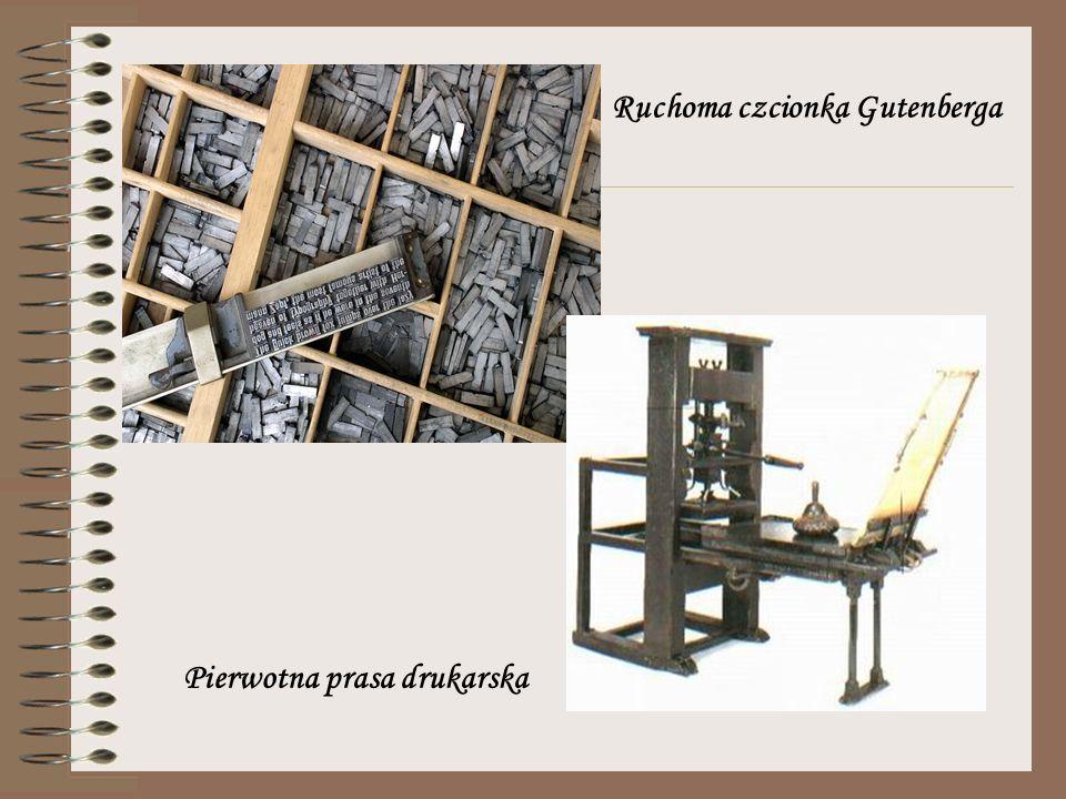 Ruchoma czcionka Gutenberga Pierwotna prasa drukarska