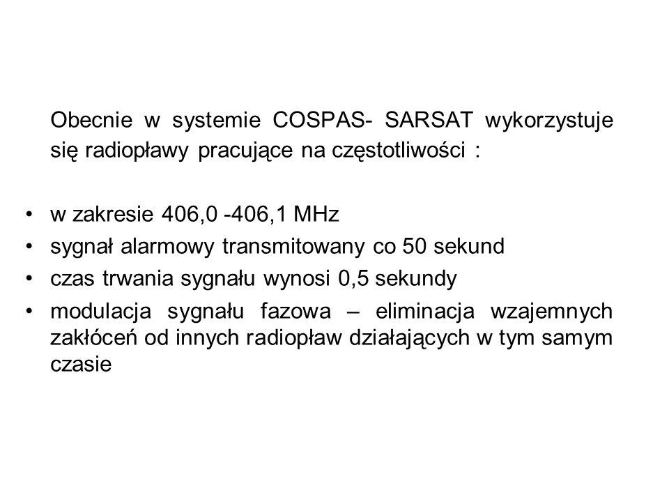 Obecnie w systemie COSPAS- SARSAT wykorzystuje się radiopławy pracujące na częstotliwości : w zakresie 406,0 -406,1 MHz sygnał alarmowy transmitowany