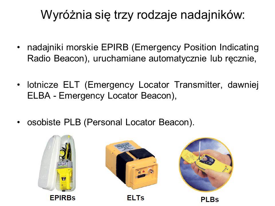 Wyróżnia się trzy rodzaje nadajników: nadajniki morskie EPIRB (Emergency Position Indicating Radio Beacon), uruchamiane automatycznie lub ręcznie, lot
