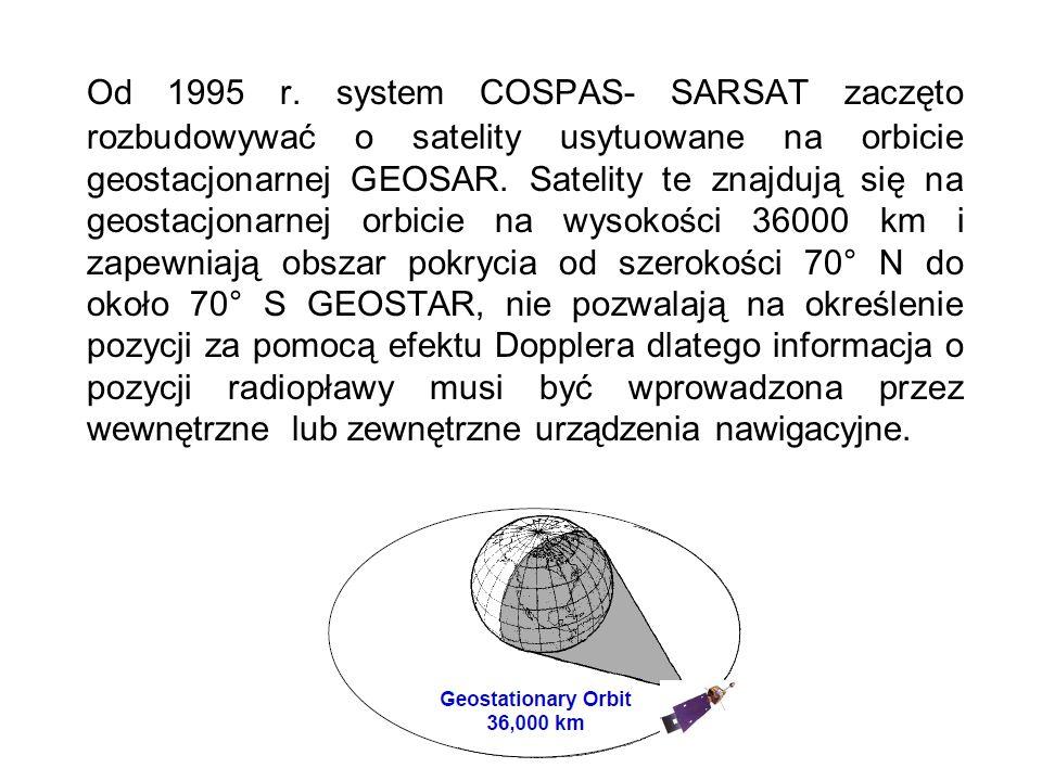 Od 1995 r. system COSPAS- SARSAT zaczęto rozbudowywać o satelity usytuowane na orbicie geostacjonarnej GEOSAR. Satelity te znajdują się na geostacjona