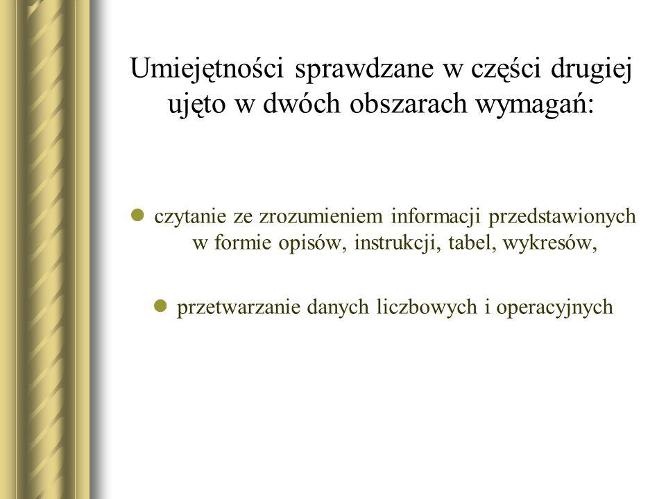 Umiejętności sprawdzane w części drugiej ujęto w dwóch obszarach wymagań: czytanie ze zrozumieniem informacji przedstawionych w formie opisów, instruk