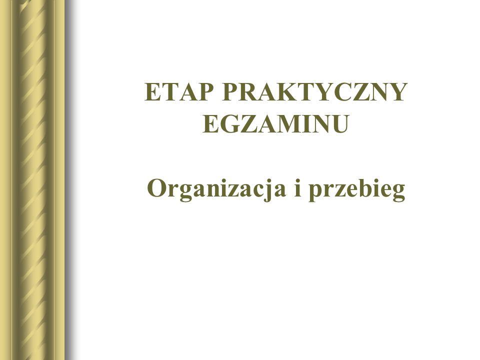 ETAP PRAKTYCZNY EGZAMINU Organizacja i przebieg