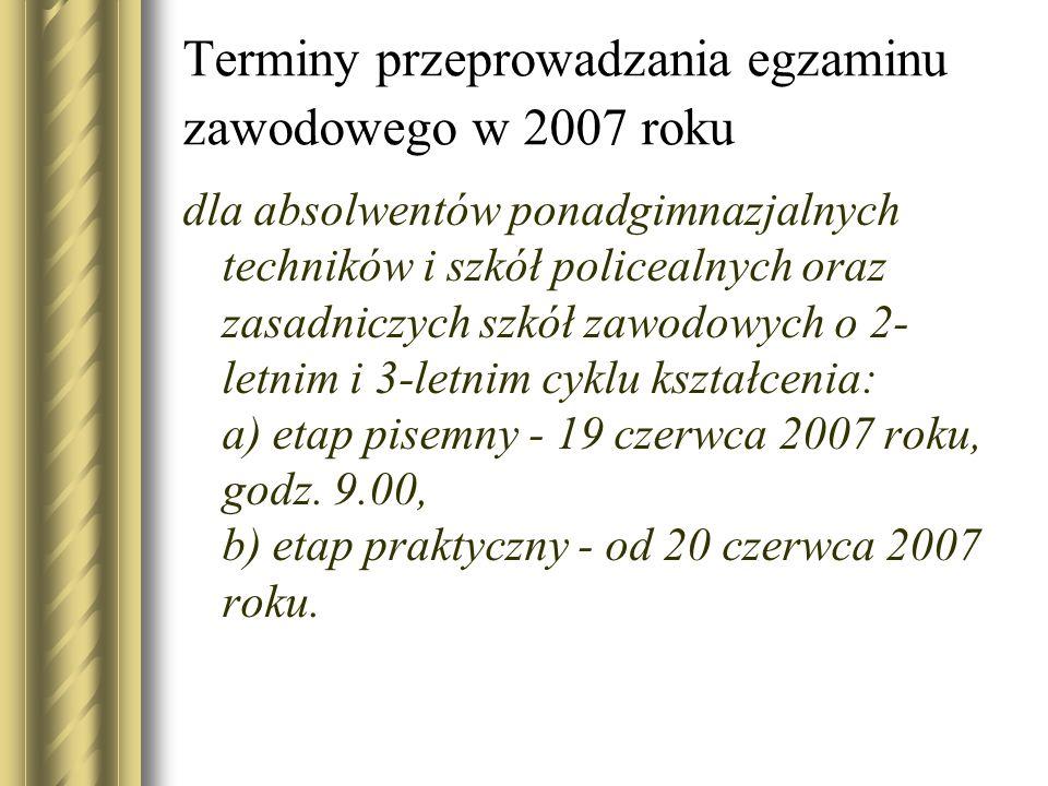 Terminy przeprowadzania egzaminu zawodowego w 2007 roku dla absolwentów ponadgimnazjalnych techników i szkół policealnych oraz zasadniczych szkół zawo