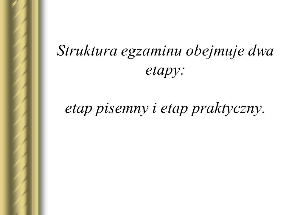 ETAP PISEMNY EGZAMINU Organizacja i przebieg
