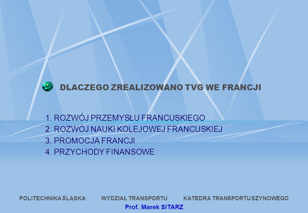 DLACZEGO ZREALIZOWANO TVG WE FRANCJI 1. ROZWÓJ PRZEMYSŁU FRANCUSKIEGO 2. ROZWÓJ NAUKI KOLEJOWEJ FRANCUSKIEJ 3. PROMOCJA FRANCJI 4. PRZYCHODY FINANSOWE