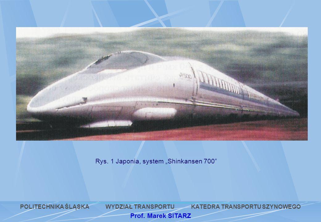 Rys. 1 Japonia, system Shinkansen 700 POLITECHNIKA ŚLĄSKA WYDZIAŁ TRANSPORTU KATEDRA TRANSPORTU SZYNOWEGO Prof. Marek SITARZ