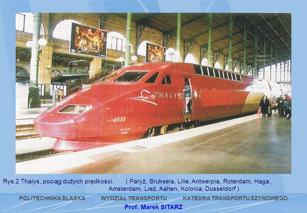 Rys.2 Thalys, pociąg dużych prędkości. ( Paryż, Bruksela, Lille, Antwerpia, Roterdam, Haga, Amsterdam, Lież, Aahen, Kolonia, Dusseldorf ) POLITECHNIKA