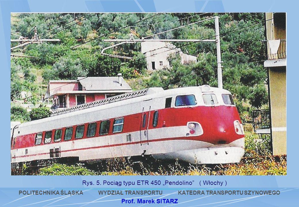 Rys. 5. Pociąg typu ETR 450 Pendolino ( Włochy ) POLITECHNIKA ŚLĄSKA WYDZIAŁ TRANSPORTU KATEDRA TRANSPORTU SZYNOWEGO Prof. Marek SITARZ