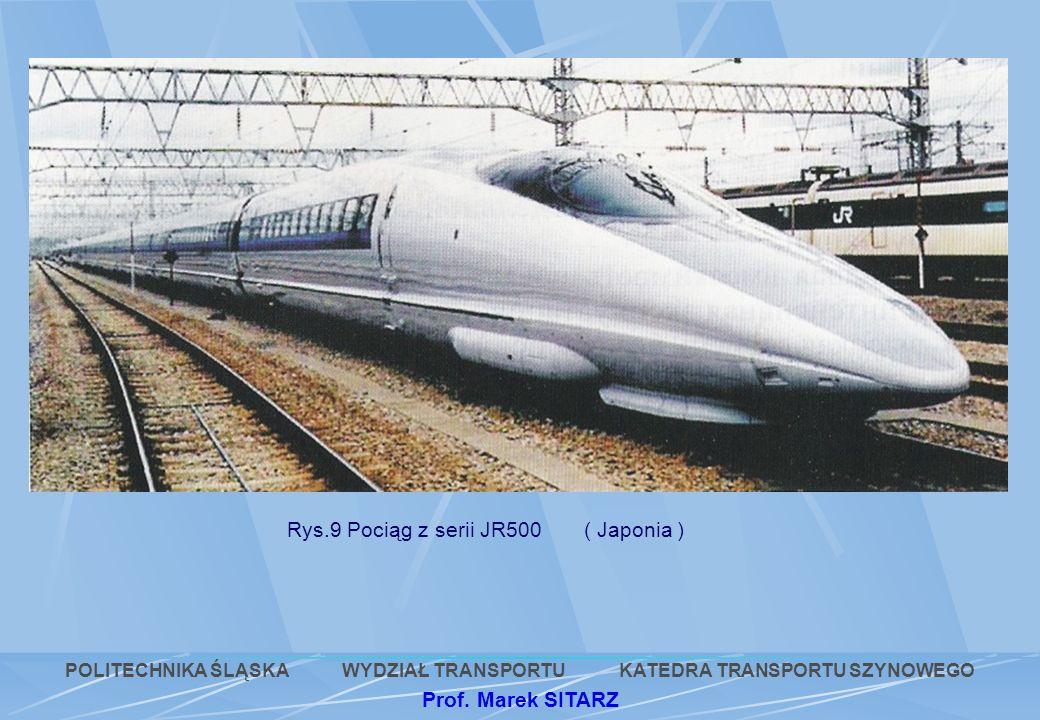 Rys.9 Pociąg z serii JR500 ( Japonia ) POLITECHNIKA ŚLĄSKA WYDZIAŁ TRANSPORTU KATEDRA TRANSPORTU SZYNOWEGO Prof. Marek SITARZ