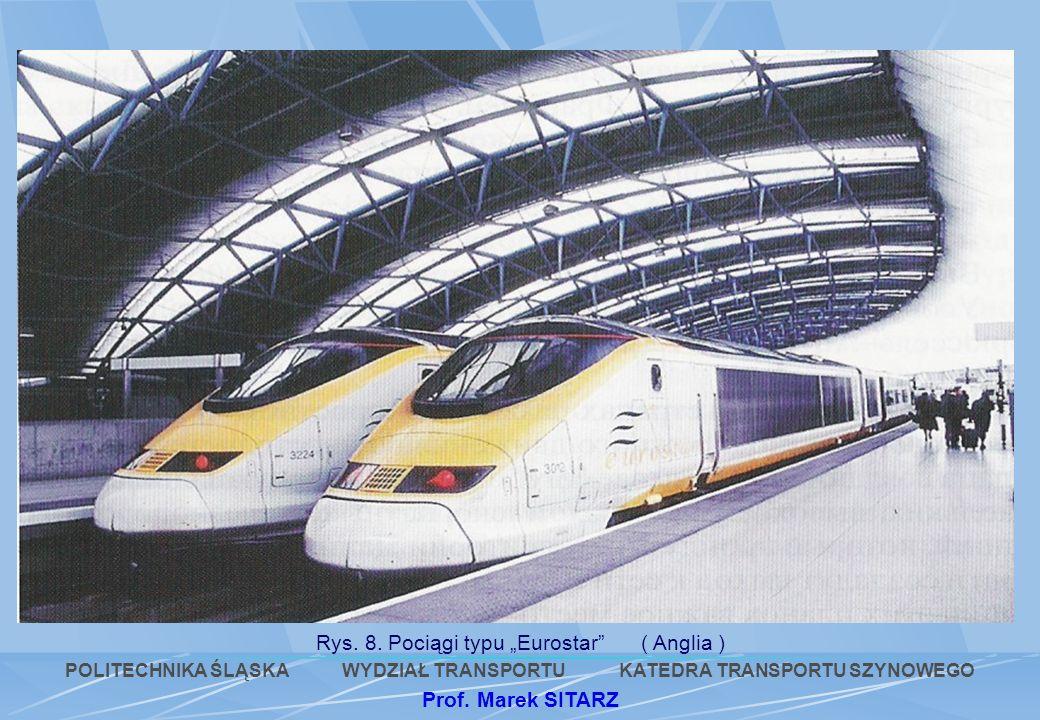 Rys. 8. Pociągi typu Eurostar ( Anglia ) POLITECHNIKA ŚLĄSKA WYDZIAŁ TRANSPORTU KATEDRA TRANSPORTU SZYNOWEGO Prof. Marek SITARZ